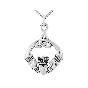 Antiqued Claddagh Pendant Necklace in Sterling Silver with Chain