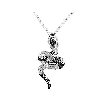 Snake Pendant Necklace with Diamond Accent in Sterling Silver with Chain