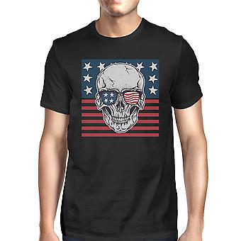 Skull American Flag Shirt Mens Black Round Neck Tee Gifts For Dad