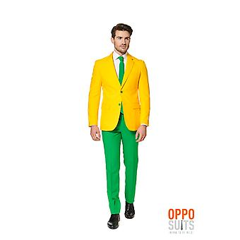 Opposuit グリーンとオーストラリアのスリムラインのゴールド スーツ メンズ 3 点プレミアム EU サイズ