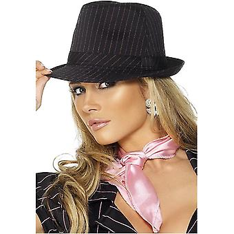 Fever collection gangster Hat Black Pink stripe Deluxe