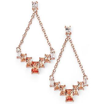 925 Silver Rose Gold Plated Champagne And Zirconium Earring Trend