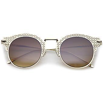 Women's Open Metal udskæring slanke Arm rund flad linse halv ramme solbriller 50mm