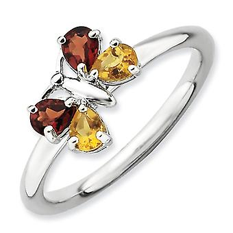 2.25mm Sterling Silver Stackable Expressions Polished Ci and Ga Butterfly Ring - Ring Size: 5 to 10