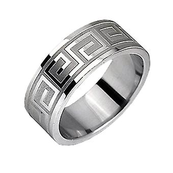Stainless Steel Ring, Broad, Mat And Shiny Metal, Pattern