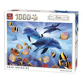 Koning vier dolfijnen Jigsaw puzzel (1000 stuks)