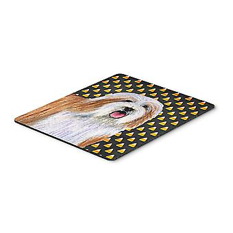 Bearded Collie Candy Corn Halloween Portrait Mouse Pad, Hot Pad or Trivet