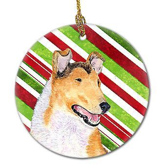 Collie Smooth Candy Cane Holiday Christmas Ceramic Ornament SS4539