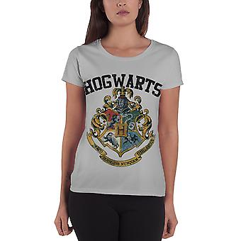 Harry Potter T Shirt Hogwarts Crest Logo Official Womens New Grey Skinny Fit