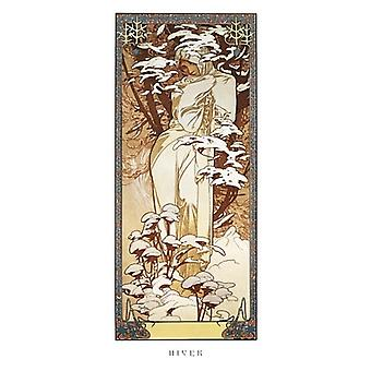 Hiver 1900 Poster Print by Alphonse Mucha (9 x 20)
