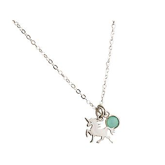 GEMSHINE necklace with Einhorn and chalcedony gemstone. Pendant from 925 Silver on a 45cm necklace. Made in Spain.