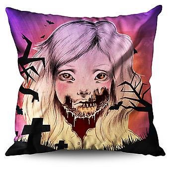 Girl Face Skeleton Linen Cushion Girl Face Skeleton | Wellcoda