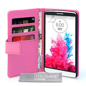 Yousave Accessories LG G3 Leather-Effect Wallet Case - Hot Pink