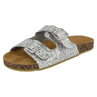 Girls Spot On Glitter Sandals - Silver Synthetic - UK Size 13 - EU Size 32 - US Size 1