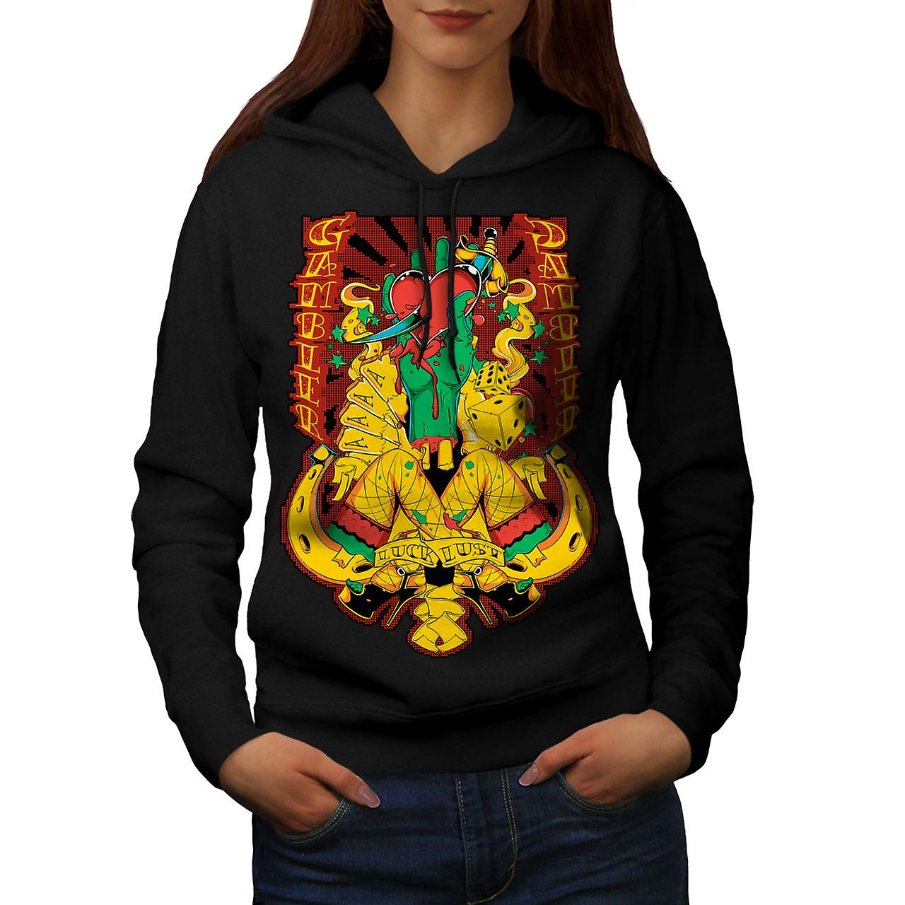 Gamble Heart Sexy Casino Women Black Hoodie | Wellcoda