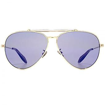 Alexander McQueen Edge Pilot Sunglasses In Gold Blue Red Flash Mirror