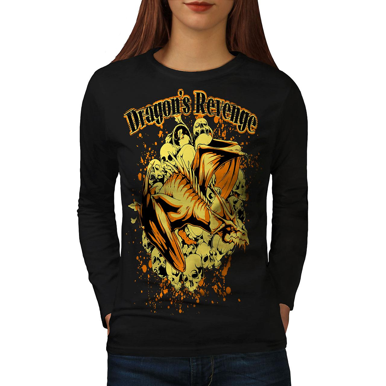 Rache des Drachen Fantasy Frauen BlackLong Sleeve T-shirt | Wellcoda