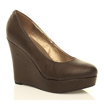 Dame platform damer klassiske høj kile bløde mandel tå form ankel Domstolen sko pumper