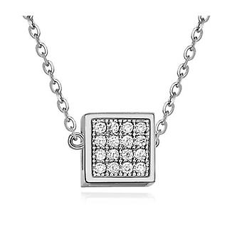 Woman Silver Small  Cube Pendant Necklace