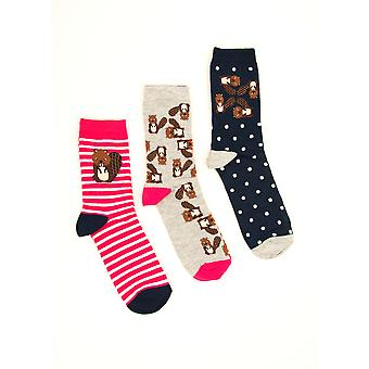 Three Pack - Billie Beaver Socks in Red