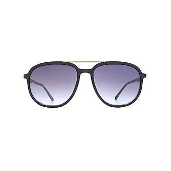 French Connection Metal Brow Square Pilot Sunglasses In Navy