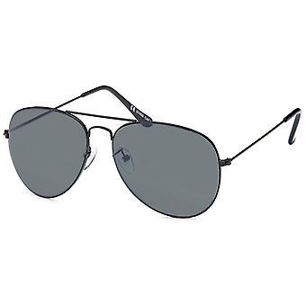 Bling metall solbriller - pilot sort / grå