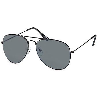 Bling metalen zonnebril - pilot zwart / grijs
