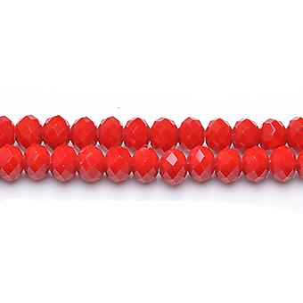 70+  Dull Red Czech Crystal Glass 6 x 8mm Faceted Rondelle Beads GC12061-3
