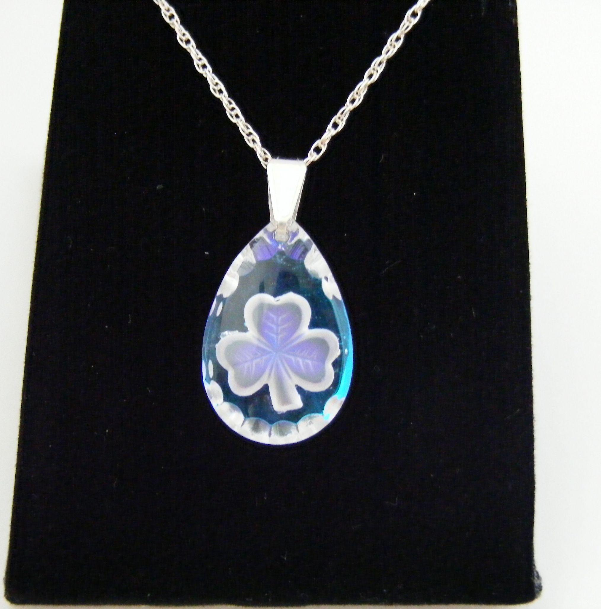 Ice Blue Teardrop Shamrock Crystal Pendant