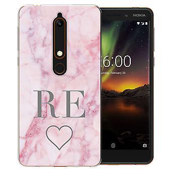Nokia 6 (2018) rosa marmor hjertet personlig TPU bærevesken
