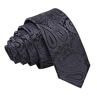 Träkol grå Paisley smal slips