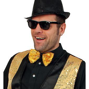 Laço com lantejoulas de ouro voar mostrar mestre circo palhaço acessório 16 cm