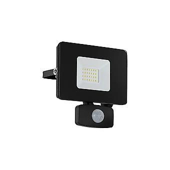 Eglo budżetu Slimline 20W czarna reflektor LED z czujnikiem ruchu
