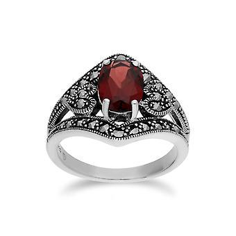 Gemondo srebro granat idealna markazytu owalny pierścień Nouveau sztuki
