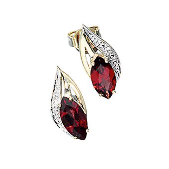 Earrings-585/g 0, 01 ct. Garnet Earrings part rhodium-plated with diamond brilliant-cut diamonds