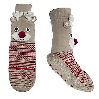 RJM senhoras Natal rena Rudolph antiderrapante chinelo meias - M/L
