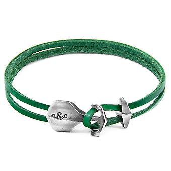 Anchor & Crew Fern Green Delta Anchor Silver and Flat Leather Bracelet