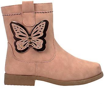 Mädchen blass rosa Ankle-Boots mit Schmetterling trim