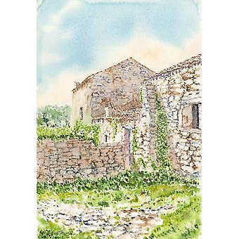 Stone-house-watercolor-italy Poster Print by Enrico Pinna
