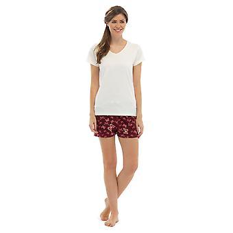 Pijama de las señoras con cuello en v Jersey Top y mariposa imprimir cortos verano pijama ropa de dormir