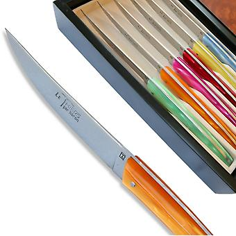 Set 6 Thiers steak knives - coloured Plexiglas handles Direct from France