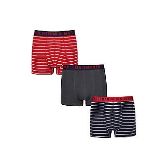 Ben Sherman Underwear Men's 3 Pack Boxer Trunk Shorts Red White Navy