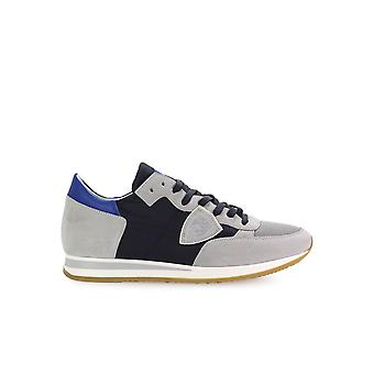 PHILIPPE MODEL TROPEZ MONDIAL BLUE AND LIGHT GREY SNEAKERS