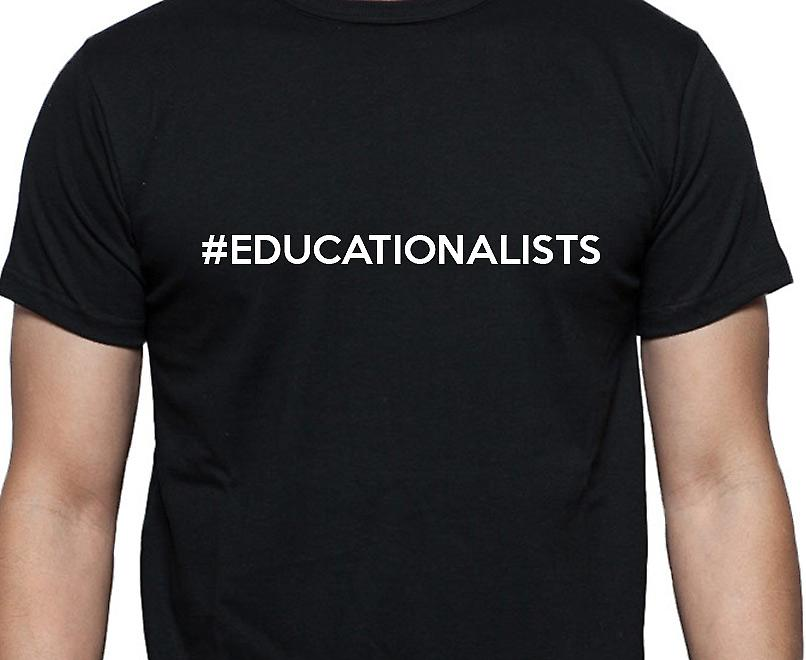 #Educationalists Hashag Educationalists Black Hand Printed T shirt