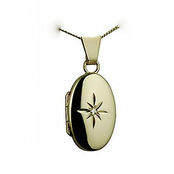 9ct Gold 18x11mm diamond star set oval Locket with a curb chain