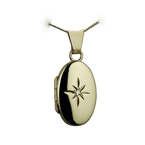 9ct Gold 18x11mm diamond star set oval Locket with a curb Chain 16 inches Only Suitable for Children