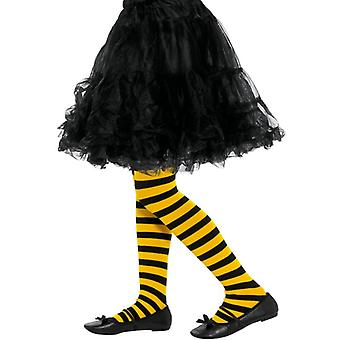 Girls Bee Stripe Tights Black & Yellow Fancy Dress Accessory