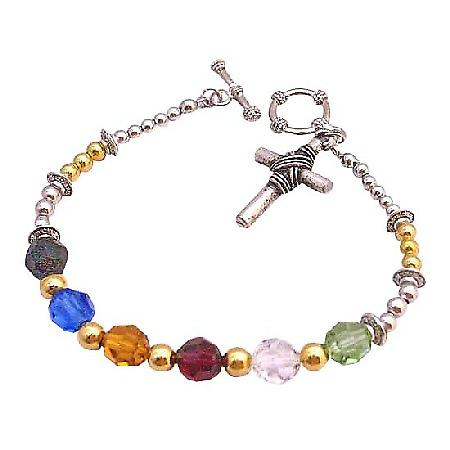 Salvation Bracelet 18 Gold Plated Beads Spacer Austrian Round Crystals