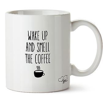 Hippowarehouse acorda e cheiro o café caneca impressa copo cerâmico 10oz