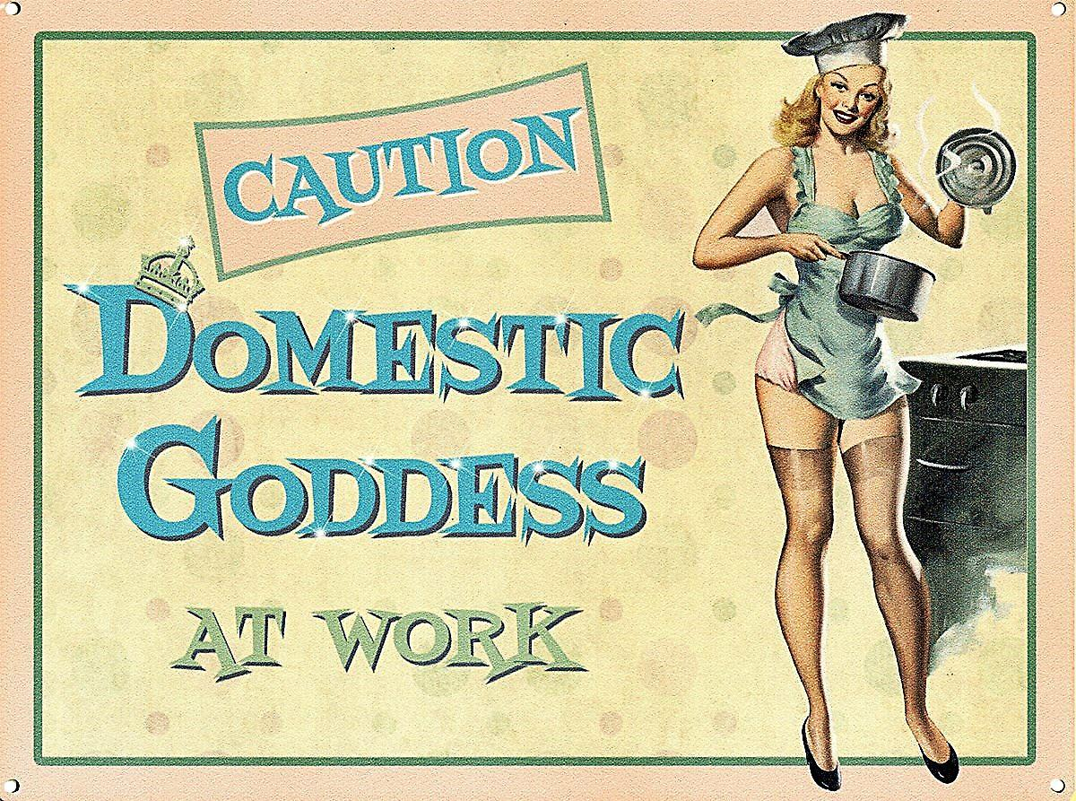 Domestic Goddess At Work funny steel sign (og 2015)